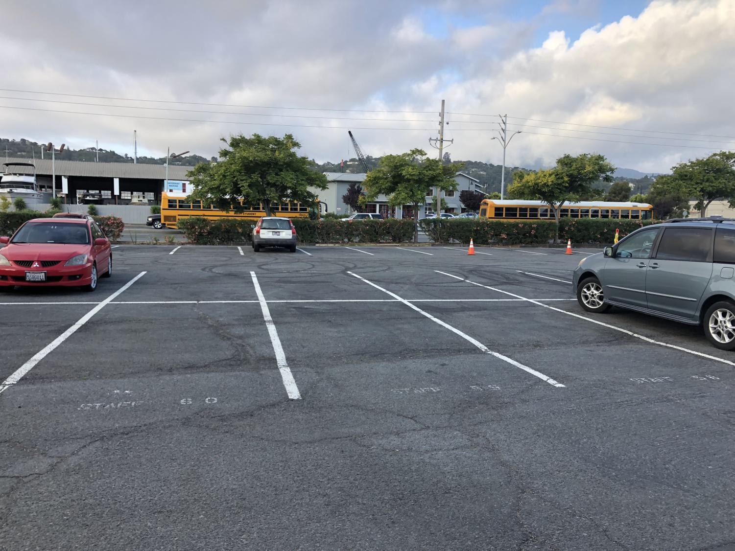 The front lot halfway through 1st period in September.